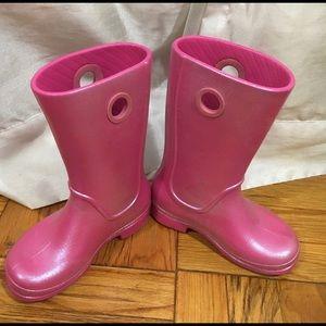 Crocs rain snow boots size 11 pink shiny